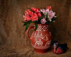 Astromelia in Pottery (Grace Pedulla Dillon) Tags: flowers stilllife ceramic native vase pottery bouquet floralarrangement southwestern astromelia
