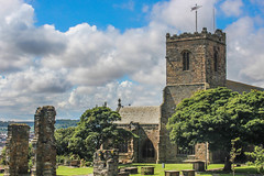 St Mary's Church, Scarborough (Pushing Pixels) Tags: old blue trees summer sky building church graveyard clouds religious ruins churchyard cloudporn