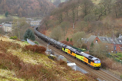 Colas 60s At Cornholme. (Neil Harvey 156) Tags: railway 60021 60056 cornholme todmorden copypitline prestondockstanks prestontanks bitumentanks 6e32 class60 colasrail colas tug doubleheaded