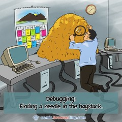 Needle in the Haystack - Webcomic about web developers, programmers and browsers (browserling) Tags: cartoon comic webcomic joke browser browserling crossbrowsertesting webdeveloper webdesigner webprogrammer needle haystack debug debugging program code magnifyingglass handlens hay programming webdev developer designer programmer geek nerd internet web cartoons comics webcomics jokes browsers webdevelopers webdesigners webprogrammers webdevelopment developers development designers programmers geeks nerds internets