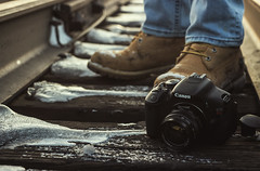Use your gear (Frédéric T. Leblanc) Tags: canon t3i camera train boots timberland canada winter snow ice track mir 1b mir1b vintage lens vintagelens urss russianlens m42 cinema cinematic filmlook movielook teen teenage teenager levis jeans outdoor beloeil otterburn sthilaire