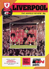 Liverpool vs Southampton - 1982 - Cover Page (The Sky Strikers) Tags: liverpool southampton football league division one anfield the review 35p official programme
