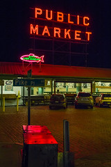 Public Market Light (matthewkaz) Tags: pikeplacemarket pikeplace market sign neonsign cityfishmarket neonsigns signs neon pikepl streetsign cars night dark mailboxes reflection reflections fish city urban downtown seattle washington 2017 60
