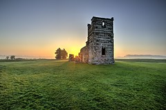 Sunrise at Knowlton Church (Nick L) Tags: knowltonchurch knowlton dorset uk neolithichenge neolthic sunrise dawn landscape church yewtrees yew earthworks