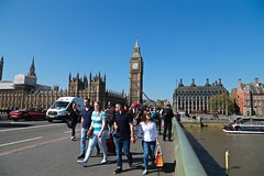 Big Ben from Westminster Bridge (smilla4) Tags: people candid westminsterbridge bigben architecture boats thames london england blue sky