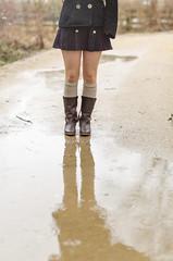 A rainy spring day (Oli_21) Tags: spring frühling pfütze puddle regen rain rainyday stiefel boots rock skirt reflexion reflection legwarmer schwerin countryside schuhe shoes nikon mecklenburg abenteuer adventure wunderland wonderland