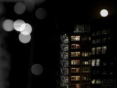 moon (AnastasiaGleyzer) Tags: urban city building moon light bokeh night spring newyork window lamp architecture geometry line circle blackandwhite