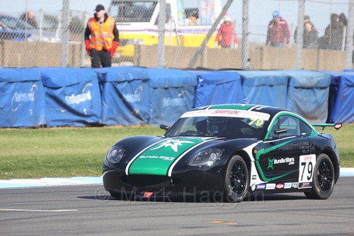Greg Johnson in Ginetta Junior Race One during the BTCC Weekend at Donington Park 2017