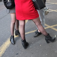 Conversation (halifaxlight) Tags: england london boroughmarket women meeting talking conversation boots red square street stockings