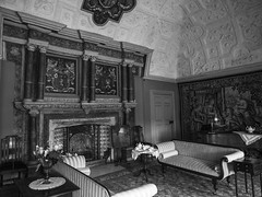 'under the weight' (Ian M Bentley) Tags: canonsashby northamptonshire daventry 16thcentury manorhouse fireplace elizabethan plasterceiling olympusomd em5 1240mm zuikopro blackandwhite monochrome drawingroom