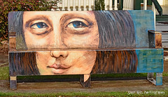 Mona Lisa Art Bench (Sage Girl Photography) Tags: hickory northcarolina painting art monalisa sallyfoxpark iveyarboretum saltblock bench outdoor local public sagegirl nikond3300