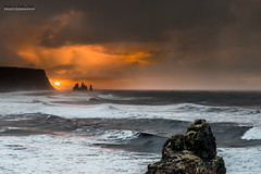 Vik - sea stacks sunrise - Iceland (jerry_lake) Tags: 13thmarch2017camb atlanticocean colourefexpro4 d750 define2 fotobuzz iceland iceland2017 nikcollection vik brillianceandwarmth highwinds seastacks stormysky sunrise