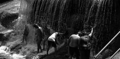 Public Bath (Sam_sush) Tags: tamilnadu india nikon nikkor 1855mm f3556 afs bathing waterfall blackandwhite nature