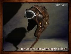 **JPK Aviator Hat with Goggle (Black) (hekirekika2017) Tags: secondlife aviator flightcap pilot goggle steampunk dieselpunk jpk