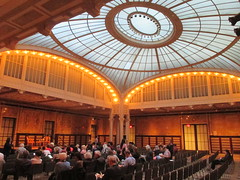 New York Public Library Auditorium - Celeste Bartos Forum 4520 (Brechtbug) Tags: celeste bartos forum auditorium glass ceiling light well courtyard new york public library 2017 nyc 42nd street next 5th avenue 04172017 april springtime spring industrial age interior steel rivot columns sculpture art lecture halls hall ave st side facade stairs front entrance bryant park