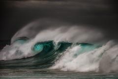 Wind Breaker (rosiebondi) Tags: surf ocean sea storm moody nikon australia coast wave waves