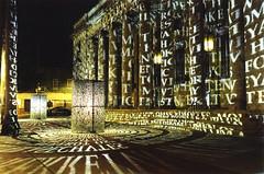 Kryptos - at night, lit up (ripleysamsterdam) Tags: kryptos mysteries unsolved unsolvedmysteries cia amazing amazingfacts cryptanalysts cript decipher code codes unsolvedcodes