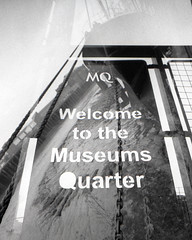 Welcome to the Museums Quarter (pho-Tony) Tags: doubleexposure lomolcw fujineopan400 hull 400 iso400 black white blackandwhite bw monochrome lomography lomolcwide lcwide blend 35mm 17mm fullframe halfframe minigon 1 ultrawideangle lens minigon17mm superwide ultrawide rodinal expired
