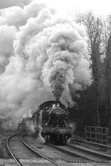 5542 Consall 06/02/2010 (Brad Joyce 37) Tags: 5542 prarie steam locomotive engine blackandwhite passengertrain staffordshiremoorlands churnetvalleyrailway cvr nikon