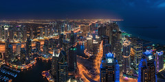 Dubai - Marina Skyline Panorama (claudecastor) Tags: street city sunset panorama tower skyline night strand skyscraper marina lights meer dubai cityscape sonnenuntergang nightshot traffic desert nacht uae emirates burjalarab bluehour unitedarabemirates dubaimarina burj nachtaufnahme hochhaus vae blauestunde vereinigtearabischeemirate burjkhalifa