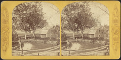 Woman and farmhouse (Boston Public Library) Tags: houses farms bostonpubliclibrary bpl stereographs photographicprints ruralareas portraitphotographs