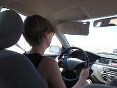 Heidi in the desert with her little Lancer (LarrynJill) Tags: travel vacation car heidi middleeast jordan driver 2014 jordanandcyprusvacation