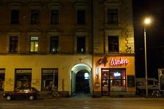 Der Westen leuchtet! (grapfapan) Tags: urban café architecture night leipzig lindenau flickrandroidapp:filter=none