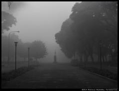 Parque Patricios bajo la niebla (Marcelo Madroal) Tags: park street city sky bw mist blancoynegro monochrome fog dark monocromo calle buenosaires streetphotography cielo fv10 neblina niebla oscuridad callejera