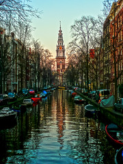 Zuiderkerk, Amsterdam, the Netherlands (Mr. Ansonii) Tags: winter holland church water amsterdam boats canal europe december 17thcentury thenetherlands monet nieuwmarkt  rembrandt kerk claudemonet   zuiderkerk