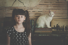 Claire & Anna (Kilkennycat) Tags: old friends white cat canon children reading fireplace child room kitty books pancake decrepit 500d catdress kilkennycat 40mm28 t1i ryanconners