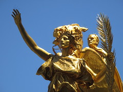 Civil War Statue General Sherman on Horseback with Angel 1337 (Brechtbug) Tags: street plaza new york city nyc roof cactus building green art yellow statue architecture angel bronze gold hotel leaf wings construction hands war pin afternoon shadows general near top flag fingers profile civil american underneath needles avenue 5th cushion sherman 59th the 06152014