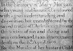 Presteigne Powys - Memorial Stone (Lark Ascending) Tags: woman court tombstone gravestone burial mementomori murder hanging bastard shame inmemoriam epitaph powys execution illegitimate presteigne radnorshire infanticide unconsecratedground