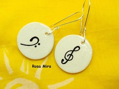 Pendientes musicales  PE.0360 (Espuma de mar by Rosa Mira) Tags: music ceramica wire handmade ooak wrapped jewelry bijoux pasta fimo clay musica bo earrings cobre sal jewel joyeria unica pieza joya pendientes bisuteria polymer arcilla polimerica