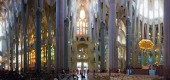 Sagrada Família Interior Panorama (cunningba) Tags: barcelona light panorama church spain europe tour interior stainedglass catalonia antoniogaudí sagradafamília 2014 basílicaitempleexpiatoridelasagradafamília ©2014barrycunningham