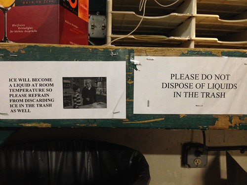 Ice will become liquid at room temperature so please refrain from discarding ice in the trash as well.