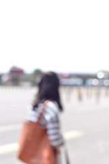 """""""But the eyes are blind. One must look with the heart..."""" (N Ackers) Tags: street light summer woman blur girl sunshine bag outside outdoors person bokeh sunny noglasses whitespace bluronpurpose blartsy"""