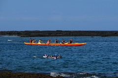 water sports (BarryFackler) Tags: ocean sea beach water ecology sport swim outdoors island hawaii polynesia coast boat waves pacific shoreline vessel canoe snorkeling pacificocean shore tropical bigisland watersports swimmers paddling watercraft kona paddles paddlers 2014 lavarock honaunau konacoast snorkelers hawaiicounty southkona hawaiiisland honaunaubay westhawaii barryfackler barronfackler keouahonaunaucanoeclub