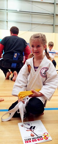Karate Grading: She got it! The yellow belt!