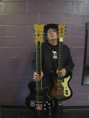 Backstage with Kevn Kinney; test shots for Vintage Guitar Magazine