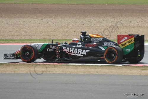 Nico Hulkenberg in his Force India during Free Practice 2 at the 2014 British Grand Prix