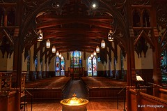 Grand view of interior of the Cathedral with a ornate vaulted wooden ceiling and beams (elnina999) Tags: old city windows light urban building tower tourism church glass beautiful architecture buildings interesting shiny colorful downtown catholic cityscape texas view christ angle cathedral interior famous religion columns houston property chapel stainedglass landmark structure ceiling historic christian stained reflect historical tall christianity ornate rise success carvings episcopal woodenbeams christchurchcathedral worshiping ornatewoodwork ornatealtar nikond5100 elaboratewoodwork