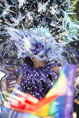 """Vancouver Pride Parade 2014 - 0188 (gherringer) Tags: summer music canada vancouver fun happy bc purple feathers pride parade colourful sequins vanpride """"west end"""""""