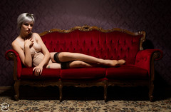 Sara Scarlet - 002 (bruxelles5) Tags: france sexy beauty lady loft scarlet nude model glamour women sara belgium belgique modeling gorgeous latex urbex strobist