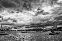 Boats on the Medway (Andy_Goodridge) Tags: blackandwhite bw monochrome clouds boats mono boat nikon sailing yacht medway d90 18300mm silverefexpro