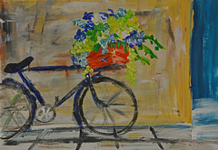 Bicycle - Take 2 (BKHagar *Kim*) Tags: bkhagar art artwork painting paint acrylic bicycle bike flowers wall basket box spokes wheels impressionist