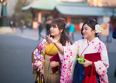 Happy young women sightseeing witn Hakama traditional clothing (Apricot Cafe) Tags: img22235 1819years asakusa asia asianandindianethnicities canonef85mmf18usm japan japaneseethnicity japaneseculture kimono millennialgeneration tokyojapan beautifulwoman carefree charming cheerful citylife cultures day enjoyment freedom friendship graduation hakama happiness horizontal lifestyles looking onlywomen outdoors petbottle photography portrait serenepeople sightseeing smiling standing street student tea teenager togetherness traditionalclothing twopeople youngadult youngwomen
