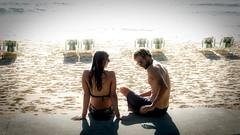 63+431: Shadow play - Couples (37) (geemuses) Tags: manlybeach nsw beach sand sun surf sea water deckchairs couples scenic streetphotography landscape lumix panasoniclumixlx100 lx100 footprints sydney autumn