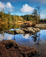 Early spring, Norway (Vest der ute) Tags: xt2 norway rogaland tuastadvatnet karmøy water waterscape bluesky clouds reflections mirror rocks trees grass fav25 fav200