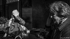 Suns in me eyes (zolaczakl) Tags: blackandwhite mono monochrome london photographybyjeremyfennell april 2017 uk england stalbans fujix100s people streetscenes candid