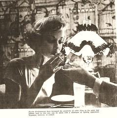 Portrait of lighting, 1960 (STUDIOZ7) Tags: woman smoking smoker cigarette restaurant 60s 1950s 50s fifties dress photography lightup 1960s sixties fashion lighter